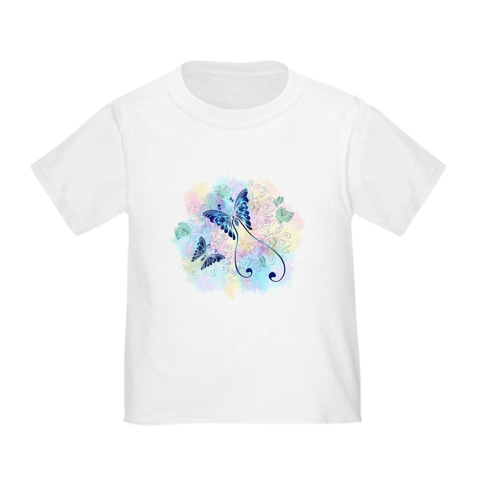 Truly Teague Toddler T-Shirt Long Tailed Butterfly with Flowers