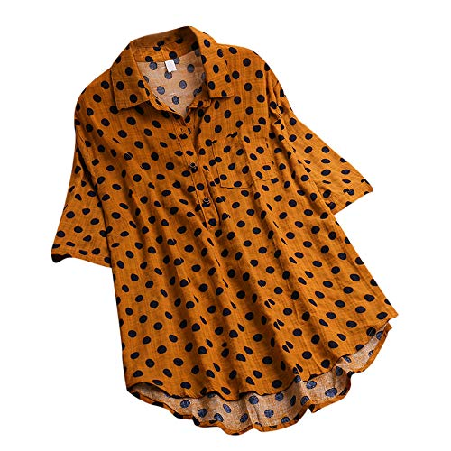 Tops de Pois à Blouse Bouton Shirt Dames Pull Polka Demi Jaune Magiyard Manche Ample Femmes vnxn87