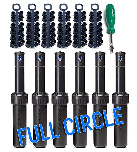 Rain Bird 5004 FC - Full Circle Rotor Sprinkler Heads with Nozzle Trees and Tools (6 Pack)
