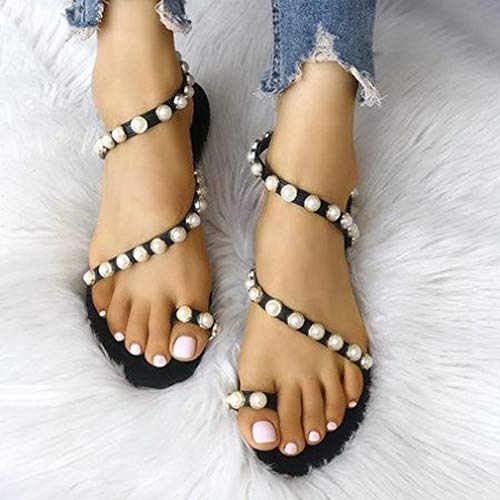 Toe Moda Dulces Pisos Negro Playa de Abierta Zapatos Elegante Sandalias Romanas Sandalias Peep Casuales de Bombas Bohemio Mujeres Sandalias Abalorios Punta Fiesta nrFArXq