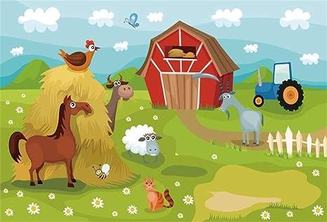 Amazon Com Ofila Cartoon Farm Animals Backdrop 9x6ft Barn