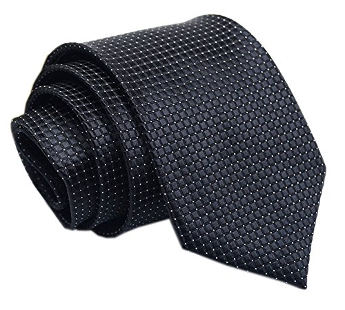 - Men's Pure Black Silk Ties Stylish Plaids Designer Daily Dress Meeting Neckties