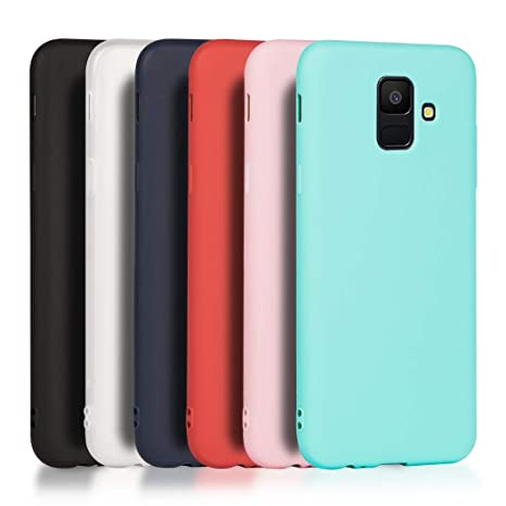 Wanxideng - 6X Funda Compatible con Samsung Galaxy A6 2018, Carcasa Suave Mate en Silicona TPU - Soft Silicone Case Cover [ Negro+ Rojo+ Azul Oscuro + ...