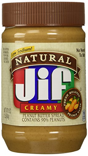 Jif Natural Low Sodium Creamy Peanut Butter 16 oz (Pack of 2)