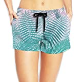 Women's Hot Summer Casual Beach Shorts - Pink Teal Fine Leaves