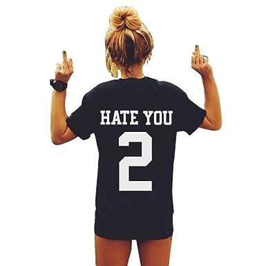 Damen Shirt, GJKK Damen Casual Sommershirt Brief Drucken Sommer Kurzarm T- Shirt Crew Neck Sport Shirt Tops Bluse Sport Tanktop Kurzarmshirt Lose Hemd  ... 77fe26106f