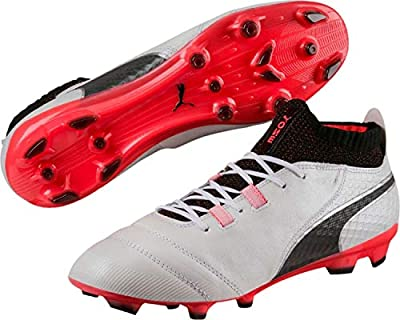 PUMA One 17.1 AG Men's Leather Soccer Cleats 104057-01 White/Black/Coral
