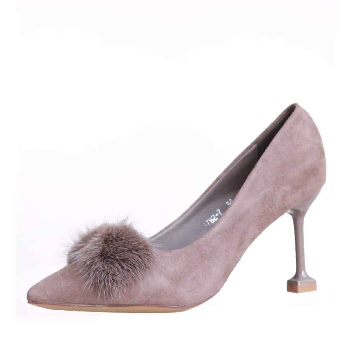 KPHY Damenschuhe/8-Cm-Schuhe Mit Hohen Absätzen Herbst Dünne Frauen Schuhe Mode Sharp Hat Schuhe Dünn und Einzelne Schuhe.36 Schwarz