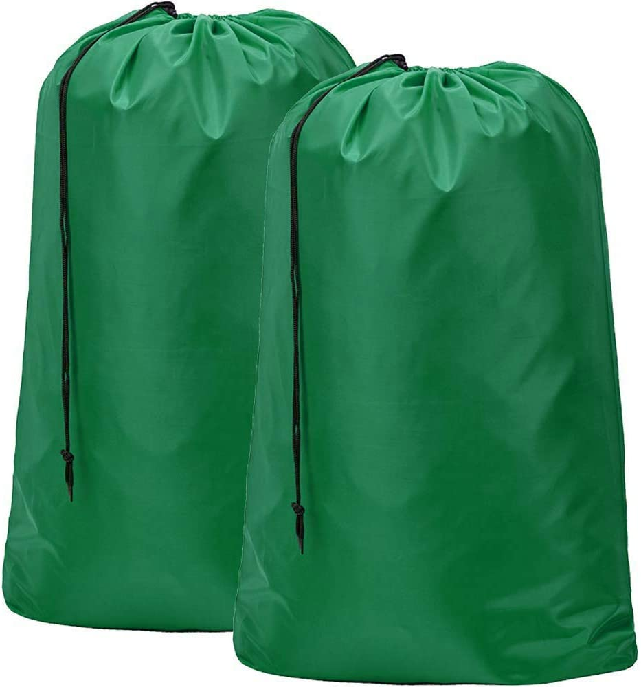 HOMEST 2 Pack Large Nylon Laundry Bag, Machine Washable Large Dirty Clothes Organizer, Easy Fit a Laundry Hamper or Basket, Can Carry Up to 4 Loads of Laundry, Dark Green