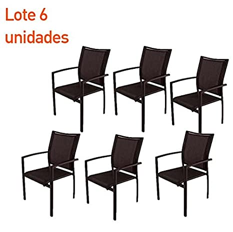 Lote 6 sillones terraza apilables aluminio y textilene negro ...