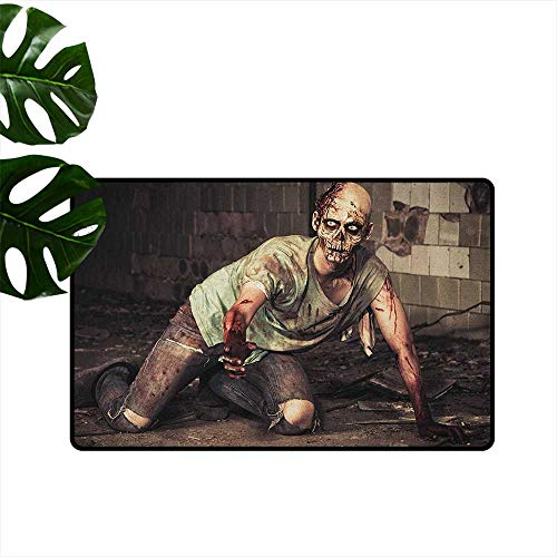 Zombie Latex Backing Non Slip Door Mat Halloween Scary Dead Man in The Old Building with Bloody Head Nightmare Theme Durable W29 x L39 Grey Mint Peach -
