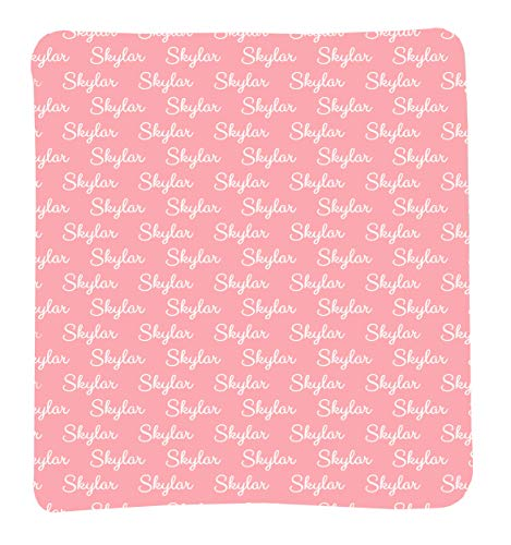 Personalized Baby Blanket, Baby Girl Gifts, Personalized Swaddle Blanket, Custom Baby Blanket, Crib or Toddler Blanket, Baby Blankie, Baby Blanket with Name All Over, Receiving Blanket (Skyler Pink)