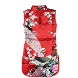 Kids Girls Classic Floral Peacock Chinese Cheong-sam Qipao Dress (4 colors 6 size)#2