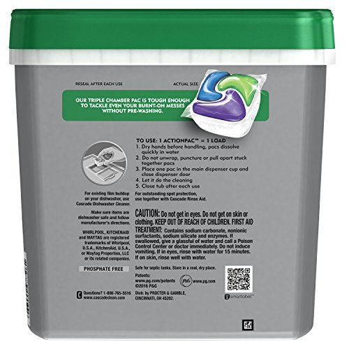 Cascade Platinum ActionPacs Dishwasher Detergent, Fresh Scent, 62 Count