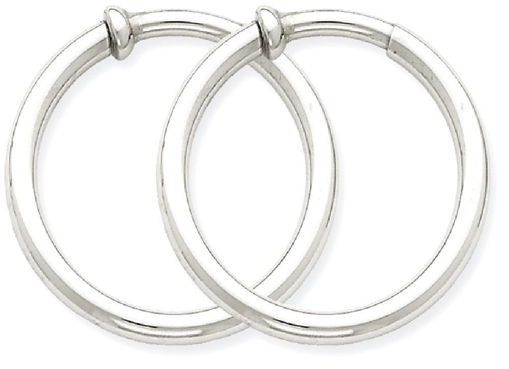 ICE CARATS 14k White Gold Non Pierced Clip On Earrings Hoops Hoop Ear Sets Fine Jewelry Gift Set For Women Heart