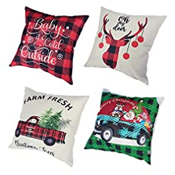 Christmas Farmhouse Home Decor VIOMO 4 Christmas Pillow Covers 18×18 inch Santa Claus Christmas Tree Throw Pillow Case Xmas Cushion Cover for Sofa… farmhouse christmas pillow covers
