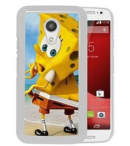 Fashionable And Unique Designed Case For Motorola Moto G 2nd Generation Phone Case With Funny Spongebob Squarepants White