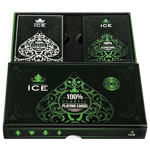 Ice - 100% Plastic Playing Cards | Premium Poker Sized | Professional Casino Grade - (Pack of 2)