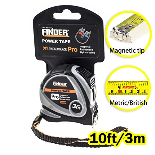Finder 10Ft 3M  Tape Measure Inch Cm Metric Inches And Sturdy Retractable Professional Measurement With Magentic Hook Fast Read Heavy Duty Front Side Ruler Durable For Intensive Use