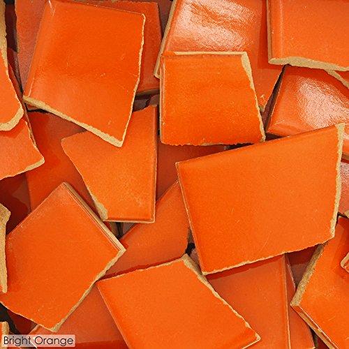 5 Pounds of Broken Talavera Mexican Ceramic Tile in BRIGHT ORANGE Solid Color