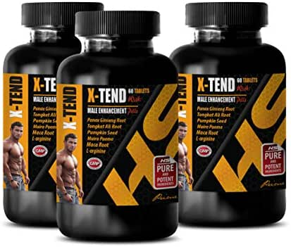 libido Booster for Men - X-TEND - Male Enhancement Pills - tongkat ali longjack Bulk spplements - 3 Bottles 180 Tablets