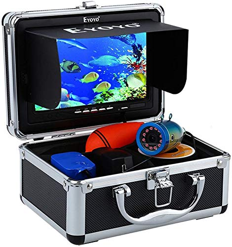 Eyoyo Portable Fish Finder Waterproof Underwater HD 1000TVL Fishing Camera 7 inch LCD Monitor 30m Cable 12pcs IR Infrared Lights for Ice Lake and Boat Fishing