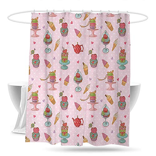 huangfuzz Ice Cream Home Decor Shower Curtain Retro Style Cupcakes Teapots Candies Cookies on Polka Dots Vintage Kitchen Print Guest Bathroom 70in×70in Multicolor]()