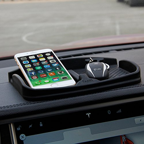 (Anti-Slip Car Dash Grip Pad for Cell Phone, Keychains, Sun Glasses,Stand for Navigation Cell Phone (Black))