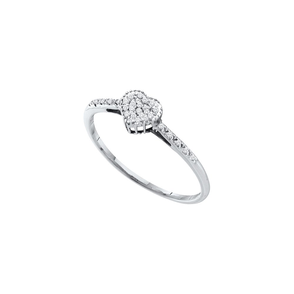 Size 6 - 14k White Gold Round Diamond Heart Love Ring 1/12 Cttw