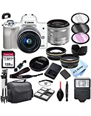 $699 » Canon EOS M50 (White) Mirrorless Digital Camera with 15-45mm Zoom Lens Lens + 128GB Card, Tripod, Case, and More (24pc Bundle)