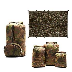 Aqua Quest Camo Lovers Combo - 100% Waterproof 5-Piece Kit - 10 + 20 + 30 L Dry Bags, 25 L Himal Backpack, 10 x 7 ft Defender Tarp - Durable, Compact, Versatile - Camouflage