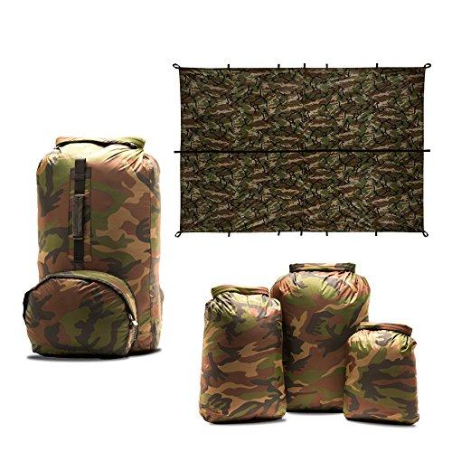 Aqua Quest Camo Lovers Combo – 100 Waterproof 5-Piece Kit – 10 20 30 L Dry Bags, 25 L Himal Backpack, 10 x 7 ft Defender Tarp – Durable, Compact, Versatile – Camouflage