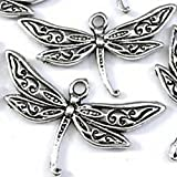 Burts Beads - 15 Silver Pewter Dragonfly Charm Pendant 16x30mm Lead-Free NJOY13032