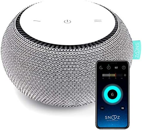SNOOZ White Noise Sound Machine – Real Fan Inside for Non-Looping White Noise Sounds – App-Based Remote Control, Sleep Timer, and Night Light – Cloud