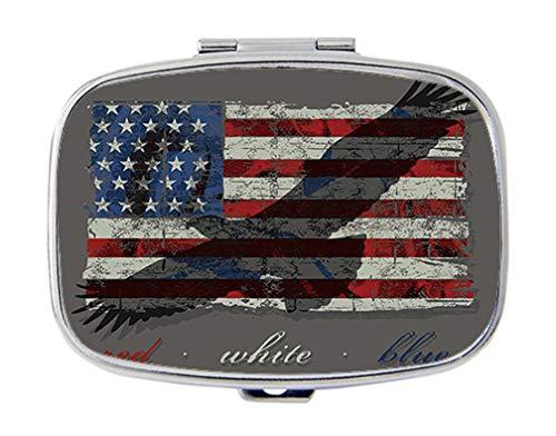 BeeGogo - American Flag and American Eagle Custom Personlized Rectangular Tablet Medicine Pocket Purse Travel Pill Vitamin Decorative Box Case Holder