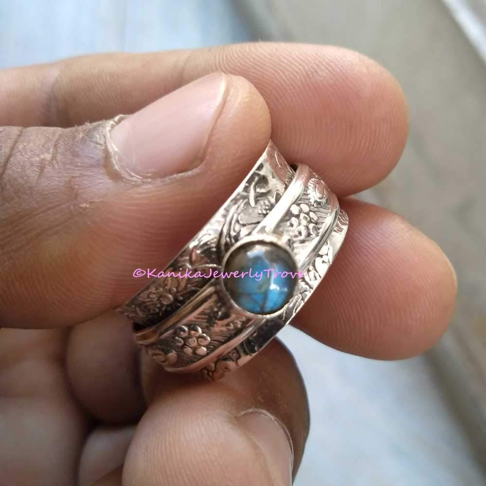 925 Sterling Silver band/&Labradorite Spinner Ring Jewelry Handmade All Size h-59