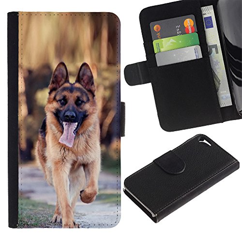 EuroCase - Apple Iphone 5 / 5S - Majestic German Shpeard Dog - Cuir PU Coverture Shell Armure Coque Coq Cas Etui Housse Case Cover