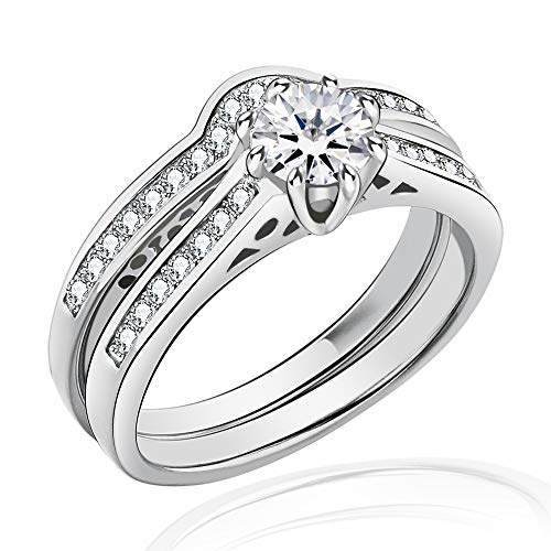 FlameReflection Stainless Steel Women's Wedding Ring Set Round CZ Cubic Zirconia Engagement Ring Bridal Jewelry Sets