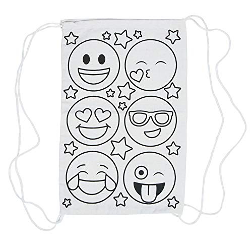 Color Your Own Emoji Canvas Drawstring Bags - Pack of 12 ()