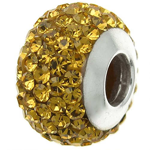 925 Sterling Silver Round Birthday November Yellow Crystal Bead For European Charm Bracelets - Crystal Flower Slide Charm