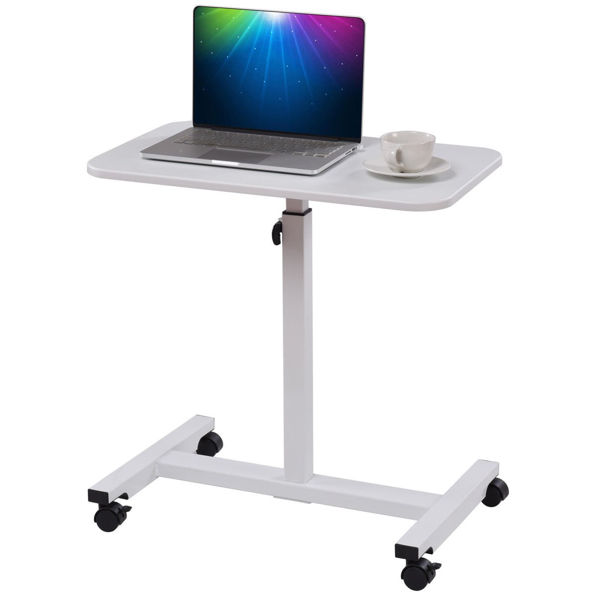 GHP White Wood & Steel Adjustable Height Home Office Rolling Mobile Laptop Desk