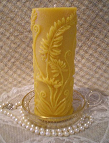 Pure Beeswax Embossed Rustic Fern Pillar Candle Natural Gold Color ()