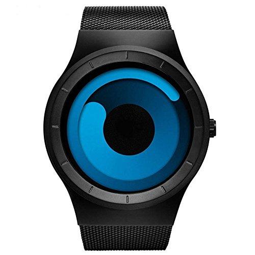 Mens Watches Luxury 2017 Stainless Steel Mesh Strap Quartz Watch Fashion Aurora Style (Blue Black)