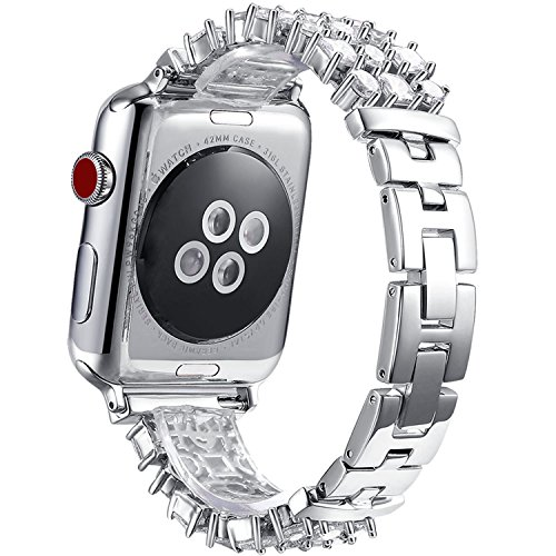 FanTEK Band for Apple Watch 42mm, Luxury Crystal Bling Rhinestone Diamond Bracelet Strap, Adjustable Stainless Steel Replacement Band Compatible with iWatch 42mm Series 3 Series 2 Series 1 Silver
