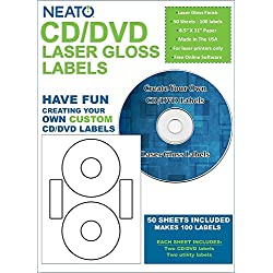 Neato CD/DVD Laser Gloss Labels – 50 Sheets – Makes 100 Labels