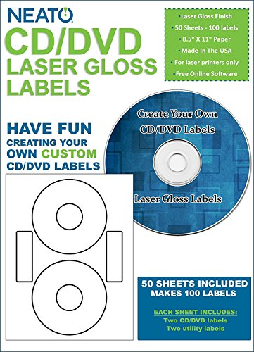 Neato CD/DVD Laser Gloss Labels - 50 Sheets - Makes 100 Labels