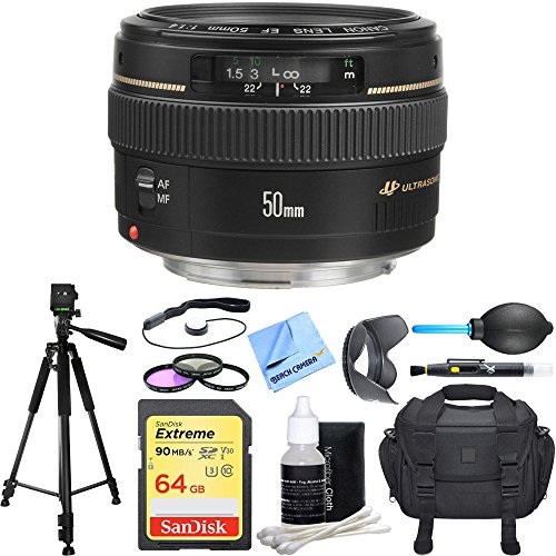 Canon EF 50mm f/1.4 USM Standard & Medium Telephoto Lens + Deluxe Accessory Bundle includes Lens, 64GB SD Memory Card, Tripod, 58mm Filter Kit, Lens Hood, Bag, Cleaning Kit, Cleaning Cloth and More