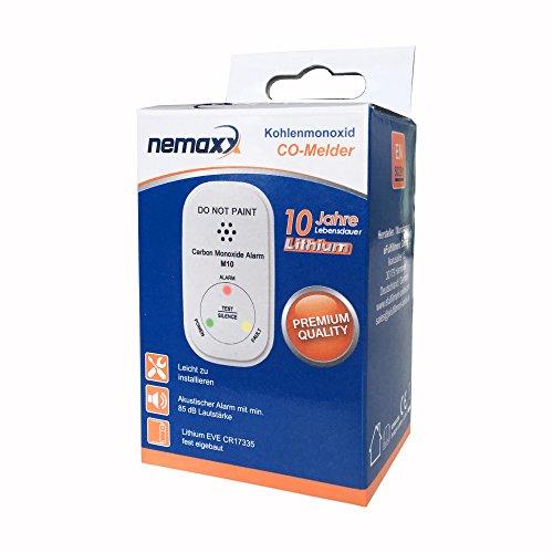 NEMAXX M10 Detector de monóxido de Carbono (CO), minidetector de Gas, 10 años de batería - Detector de Gas con la tecnología más innovadora, ...