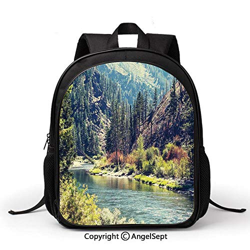 Casual Style Lightweight Canvas Kindergarten kids Scenic Mountain with Pine Trees and Flowing River Colorful Foliage Daytime NatureMulticolor Fashion Backpack School Bag Travel Daypack (Creative Interiors Pine Desk)