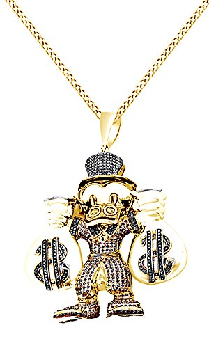 AFFY Multicolor Cubic Zirconia Cartoon Scrooge Mcduck Hip Hop Pendant in 14k Two-Tone Yellow Gold Over Sterling Silver (4.25 Cttw) by AFFY